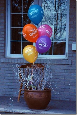 Powitanie z balonami po powrocie ze szpitala