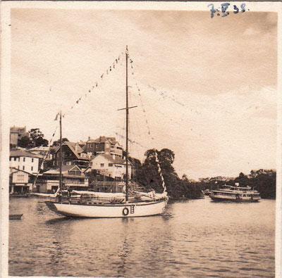 17 maja 1938. Zjawa III w Sydney, w Zatoce Roz. Poczatek uroczystosci.